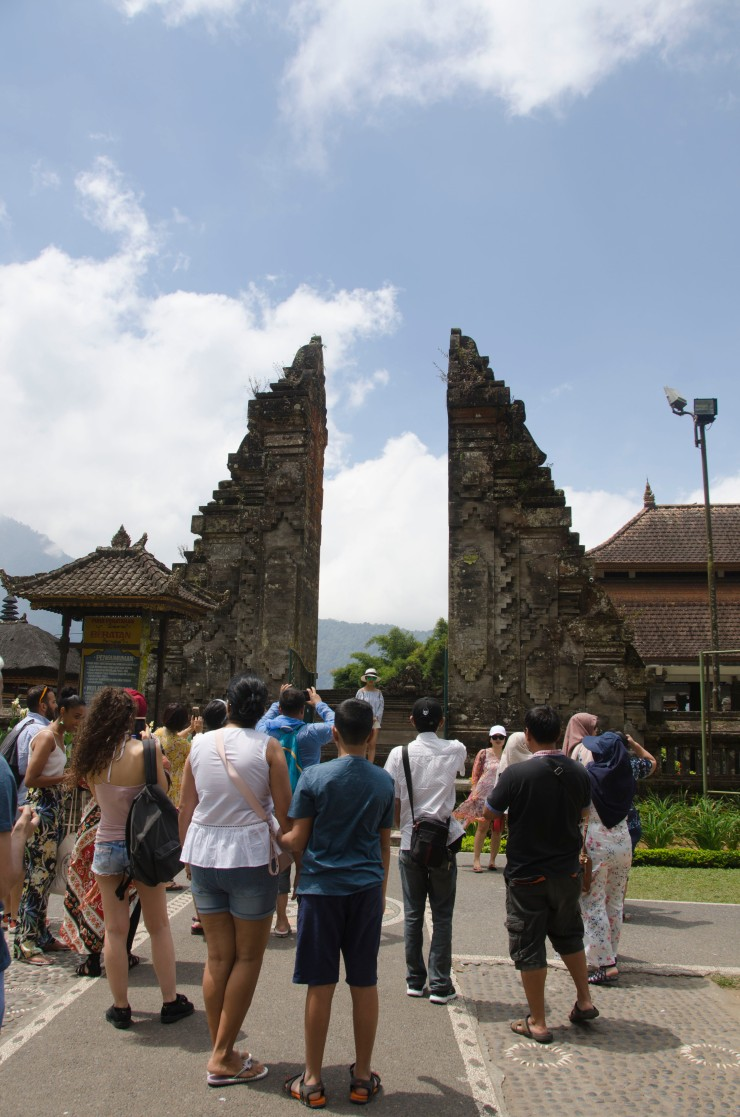 Tourists in Lake Temple Bali
