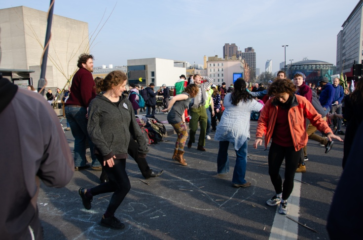 Extinction Rebellion protesters dancing on Waterloo Bridge