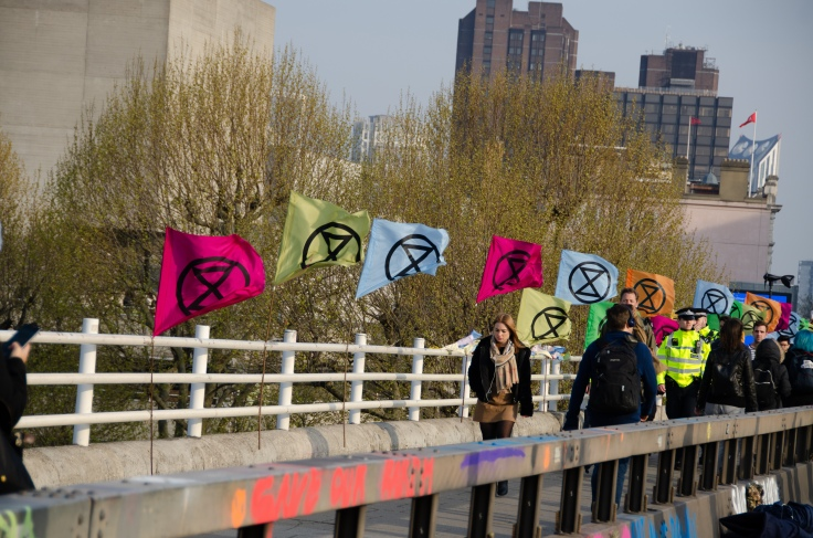 Extinction Rebellion sit-in Waterloo Bridge